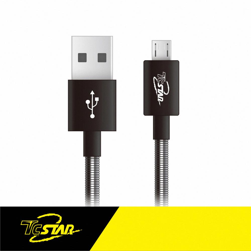TCSTAR Micro USB PVC彈簧傳輸線1M(TCW-U5100)