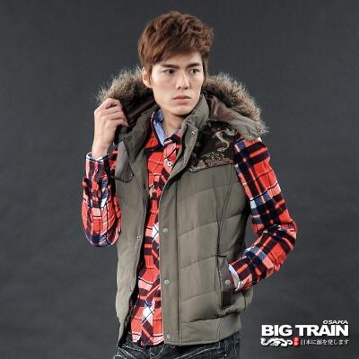 BIG TRAIN-男用配布折帽背心-軍綠