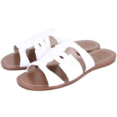 TORY BURCH ANCHOR T 品牌LOGO平底拖鞋/涼鞋(白色)