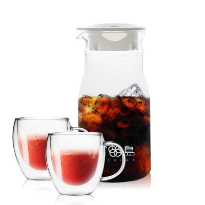 FUSHIMA日系簡約風杯壺組-分享壺600ML把手玻璃杯260ML x 2
