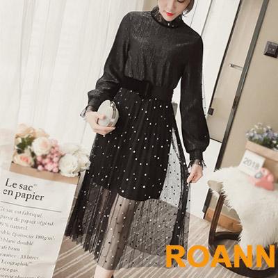 透膚拼接點點網紗長袖洋裝 (共二色)-ROANN