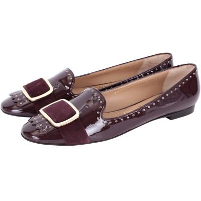 Salvatore Ferragamo LILAS 鉚釘飾邊漆皮流蘇樂褔鞋(紫紅)