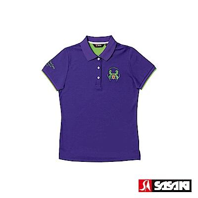 SASAKI 抗紫外線吸排功能休閒精梳棉質POLO短衫-女-鬱香紫/豔綠