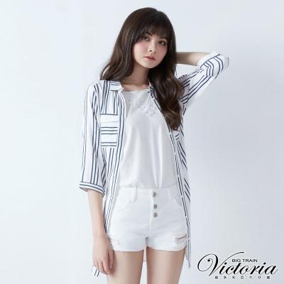 Victoria 印條長版腰帶七分袖襯衫-女-白底印藍條