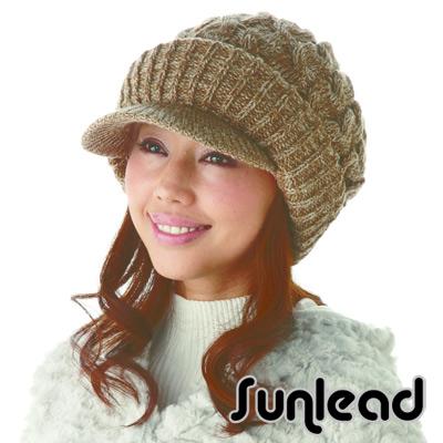 Sunlead 保暖防寒護耳。小顏效果護髮美型針織貝蕾帽 (駝色)