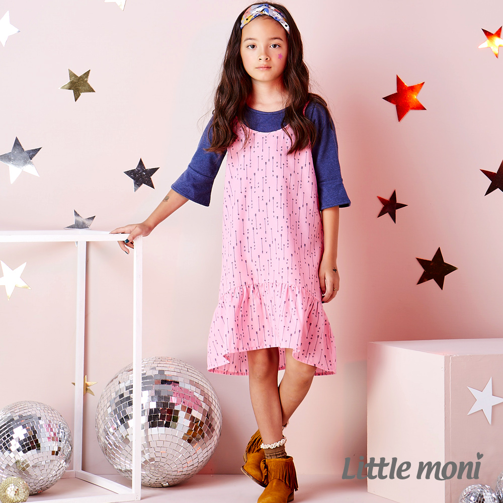 Little moni 甜美女孩細肩帶荷葉洋裝 (共2色)