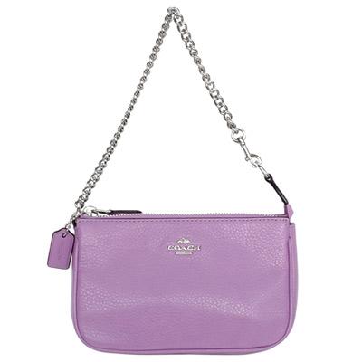COACH淺紫荔枝紋全皮金屬鍊帶手提掛小包