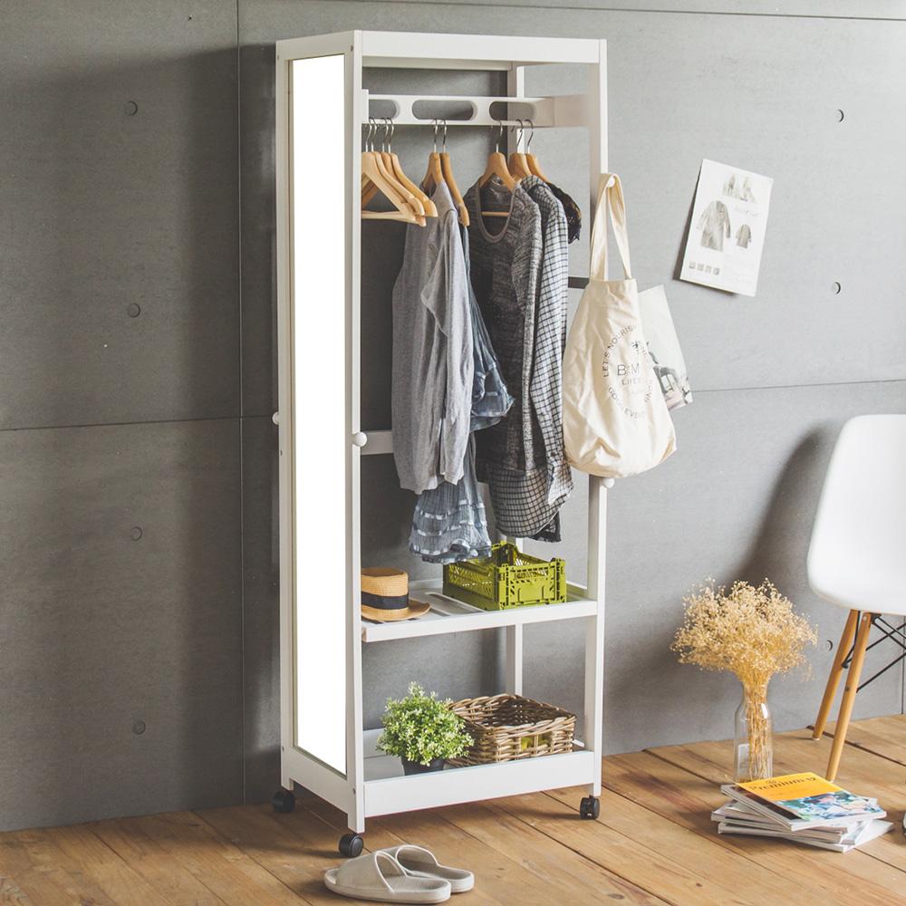 Home Feeling掛鏡衣櫥置物櫃全身鏡附輪白色-60X40X170cm