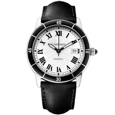 CARTIER卡地亞RONDE系列羅馬數字雕紋錶盤腕錶白面(WSRN0002)-42mm