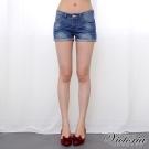Victoria 中腰刷色捲口牛仔短褲-女-深藍