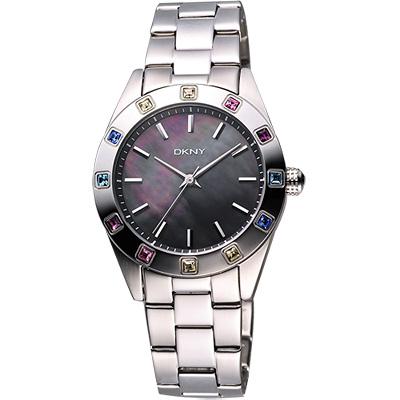 DKNY 黑珍珠貝彩色晶鑽腕錶-黑彩貝/36mm