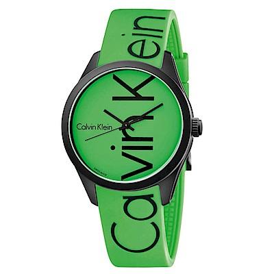 CK CALVIN KLEIN Color 炫彩系列綠色品牌字樣手錶-40mm