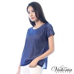 Victoria 透視條紋布落肩短袖T-女-藏青直條