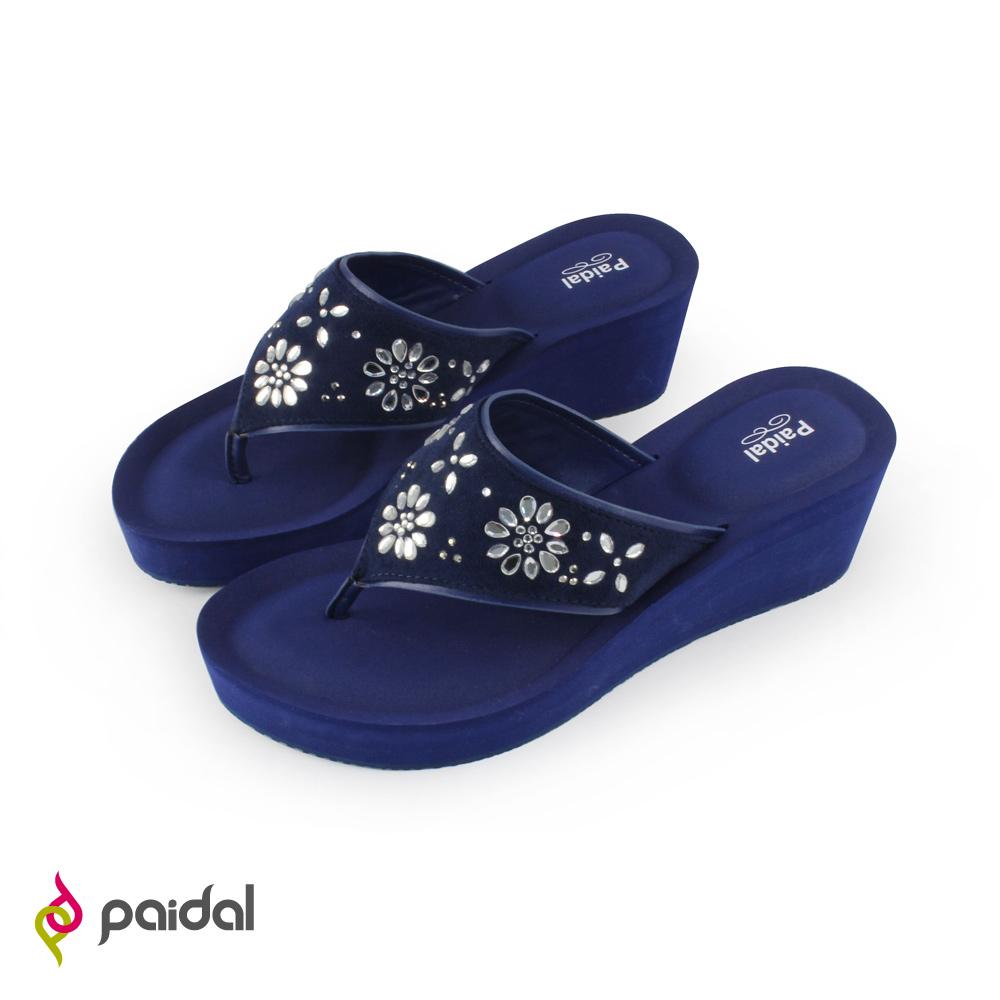 Paidal優雅鑽飾膨膨氣墊美型夾腳拖鞋-寶石藍