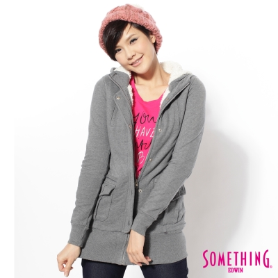 SOMETHING長版舖毛造型外套-女款-灰色