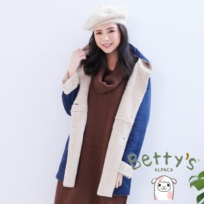 betty's貝蒂思 可愛小貓造型口袋麂皮內刷毛連帽大衣(藍色)