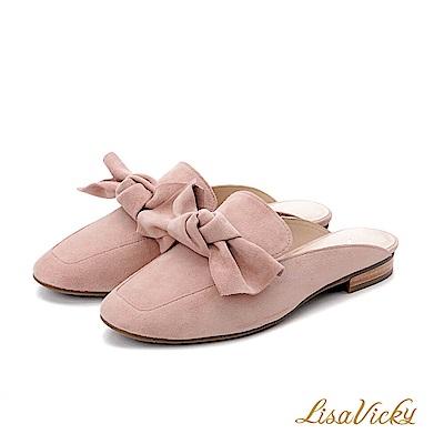 LisaVicky手工蝴蝶結小方頭穆勒鞋-粉紅色