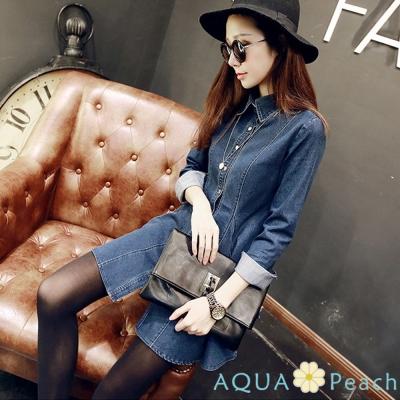 立體縫線收腰傘狀牛仔洋裝 (藍色)-AQUA Peach