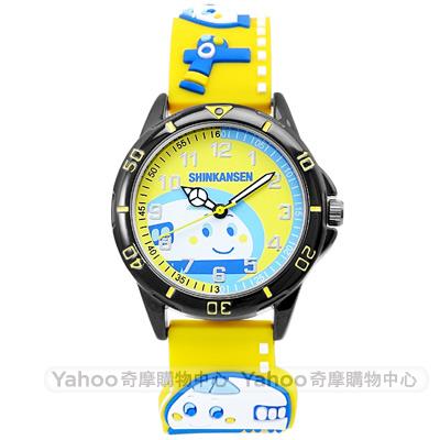 HELLO KITTY 新幹線立體火車造型手錶-黃/32mm