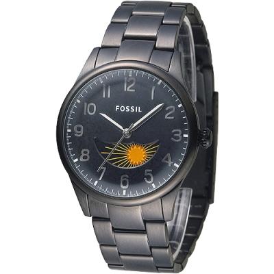 FOSSIL 月相視窗擎梭時尚腕錶(FS4849)-IP黑/37mm