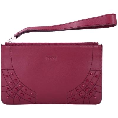 TOD'S 豆豆車縫皮革拉鍊手拿包(紫紅色)