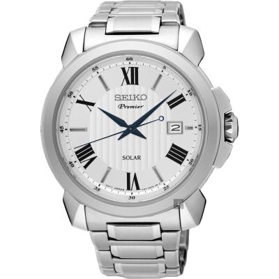 SEIKO精工 Premier 羅馬太陽能紳士手錶(SNE453J1)-銀/42mm