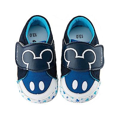 迪士尼 米奇 可愛造型 魔鬼氈寶寶鞋-藍