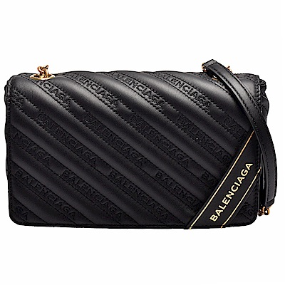 BALENCIAGA Blanket Chain系列皮革金色字母浮雕小牛皮手拿/斜背包(黑