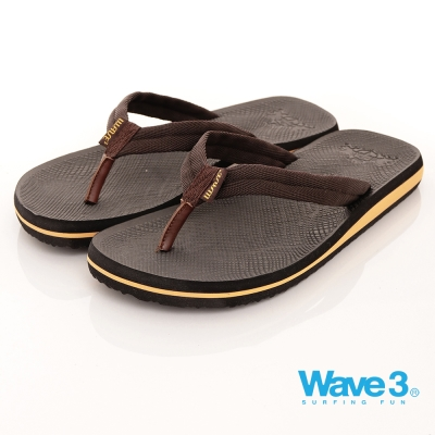 【WAVE3男款】獨家織帶設計素色人字拖-咖(17101002)