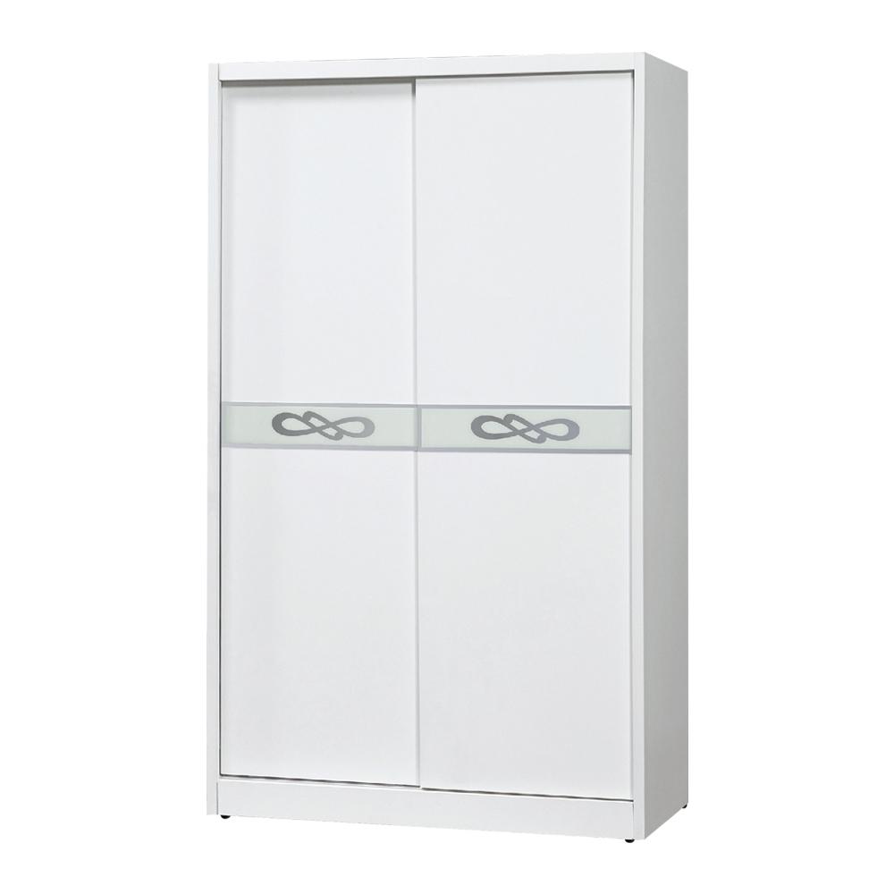 Bernice-卡洛琳4尺白色推門/拉門衣櫃-121x60x198cm