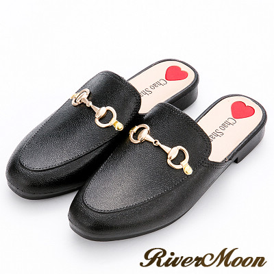 River&Moon雨鞋-時尚金屬馬蹄釦穆勒防水涼拖鞋-黑