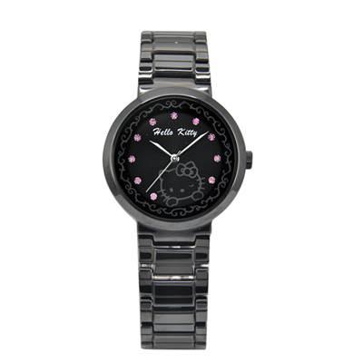 HELLO KITTY凱蒂貓高精密陶瓷晶鑽腕錶 黑/粉鑽/37mm