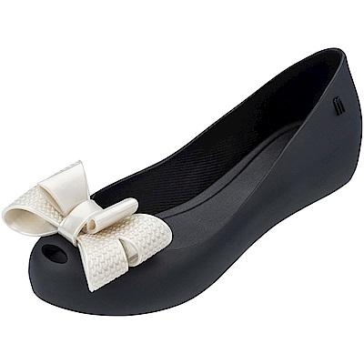 Melissa 立體圖紋蝴蝶結魚口鞋-黑/米白