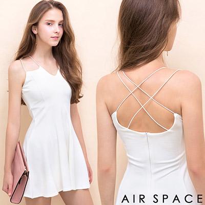 AIR-SPACE-細肩交叉小V領口露背洋裝-白
