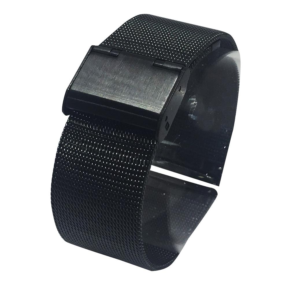 進口精緻米蘭帶 20mm 薄型鋼帶 黑鋼