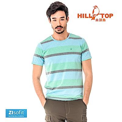 【hilltop山頂鳥】男款吸濕排汗抗UV彈性T恤S04MC2-藍混紡
