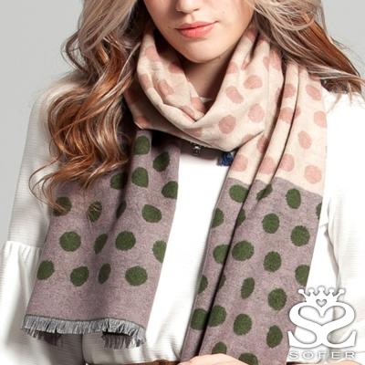 SOFER 玩美點點蠶絲保暖圍巾 - 寶石綠