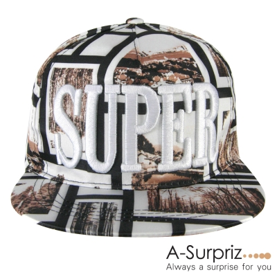 A-Surpriz SUPER字母風景印花棒球帽(淺咖)
