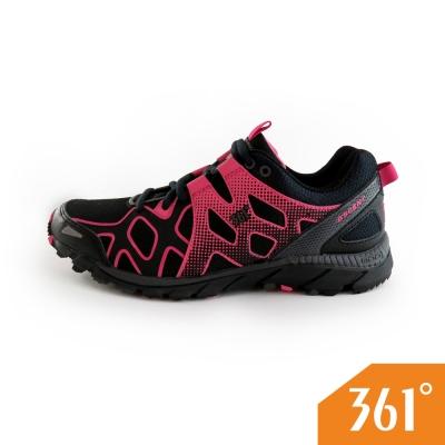 361女運動常規登山鞋-黑/粉