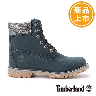 Timberland-女款深藍色絨面厚領綁帶防水6吋靴