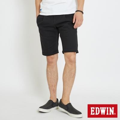EDWIN 休閒打摺短褲-男-黑色