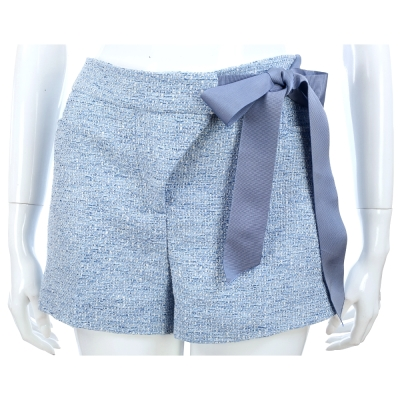 SCERVINO 藍色側緞帶毛呢短褲