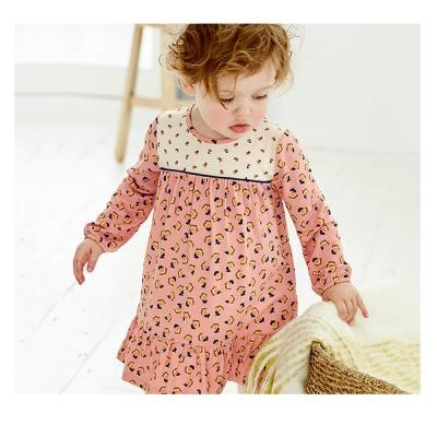 歐美風 女童純棉長袖長版T恤連身裙-滿版花朵