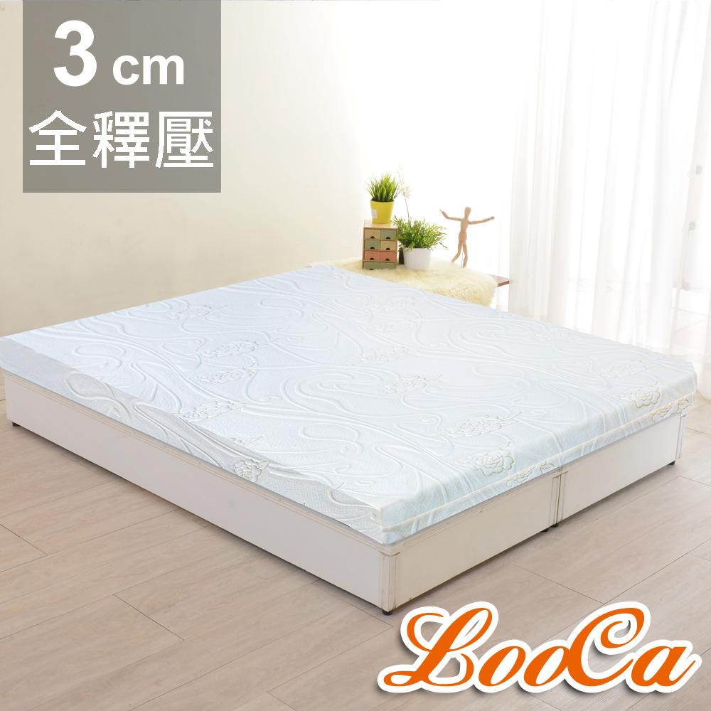 LooCa 溫感緹花3cm記憶床墊-加大6尺