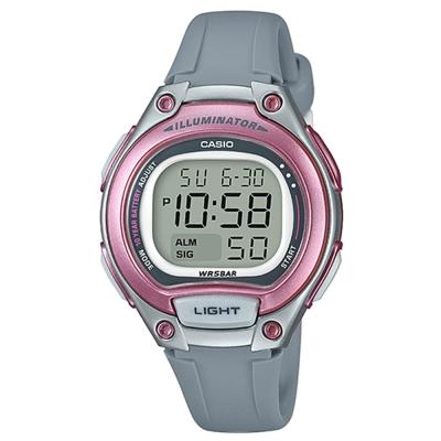 CASIO 簡約造型超實用數位休閒錶-藍框(LW-203-8A)粉紅框x灰/34.6mm