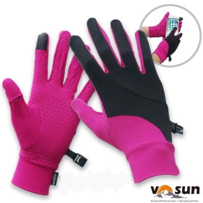 【VOSUN】台灣製 Tactel 透氣彈性抗UV觸控多功能手套_桃紅/黑