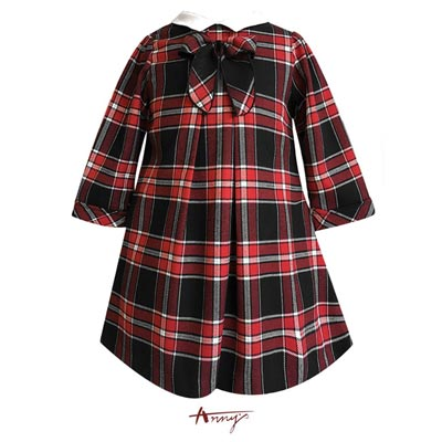 Annys貴族學院氣質翻領格紋金蔥洋裝*7230紅