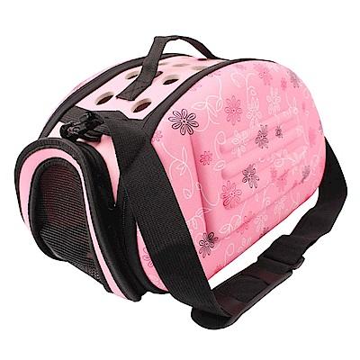 毛小孩 可肩背膠囊寵物手提包-粉紅色
