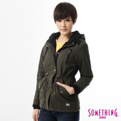 SOMETHING-外套-休閒拼接抽繩防寒外套-女-墨綠