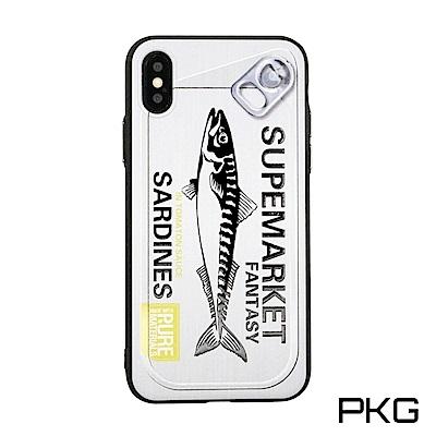 PKG Apple IPhone X 彩繪保護殼-創意彩繪-魚罐頭-白